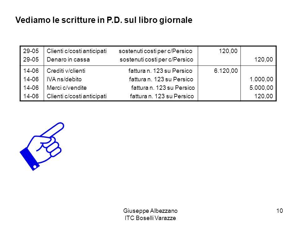 Giuseppe Albezzano ITC Boselli Varazze 10 Vediamo le scritture in P.D. sul libro giornale 29-05 Clienti c/costi anticipati sostenuti costi per c/Persi