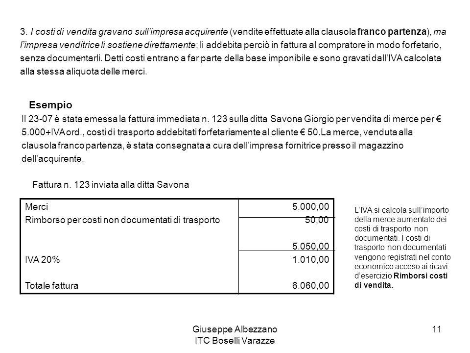 Giuseppe Albezzano ITC Boselli Varazze 11 3. I costi di vendita gravano sullimpresa acquirente (vendite effettuate alla clausola franco partenza), ma