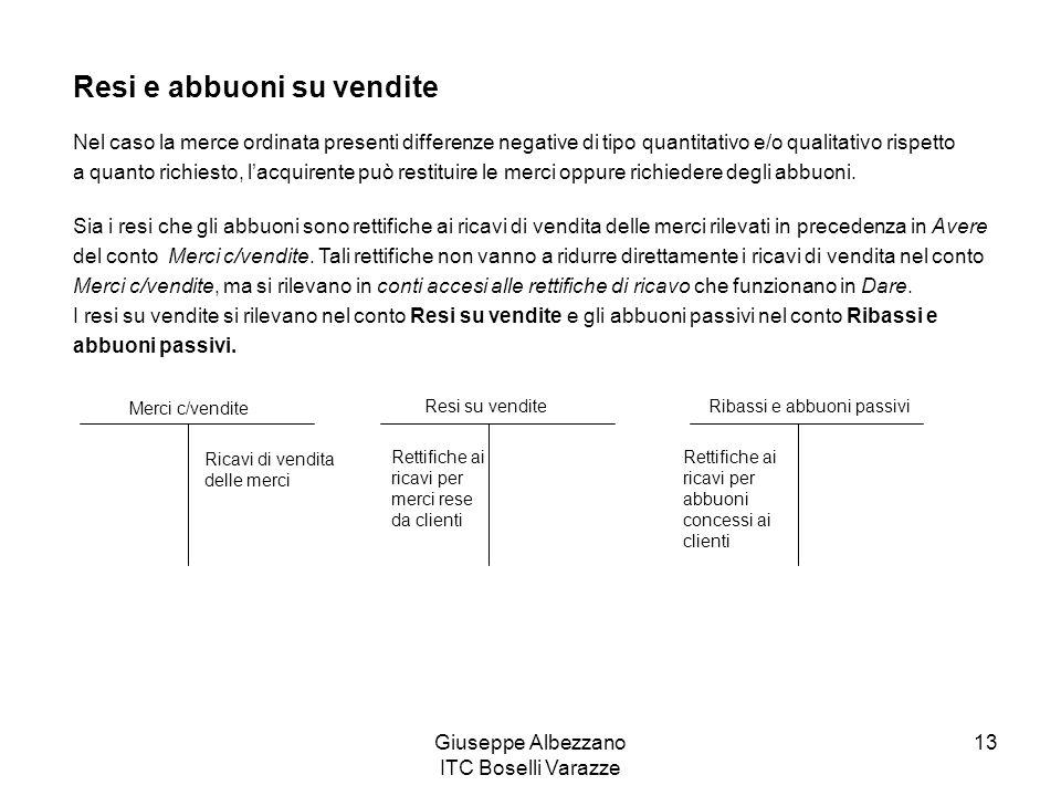 Giuseppe Albezzano ITC Boselli Varazze 13 Resi e abbuoni su vendite Nel caso la merce ordinata presenti differenze negative di tipo quantitativo e/o q