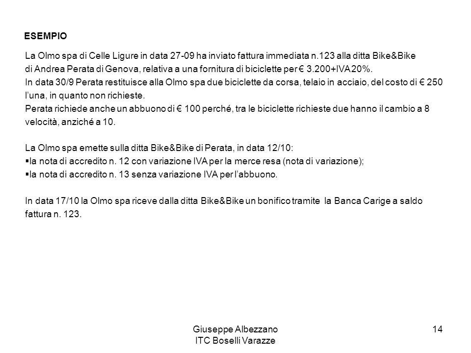 Giuseppe Albezzano ITC Boselli Varazze 14 ESEMPIO La Olmo spa di Celle Ligure in data 27-09 ha inviato fattura immediata n.123 alla ditta Bike&Bike di