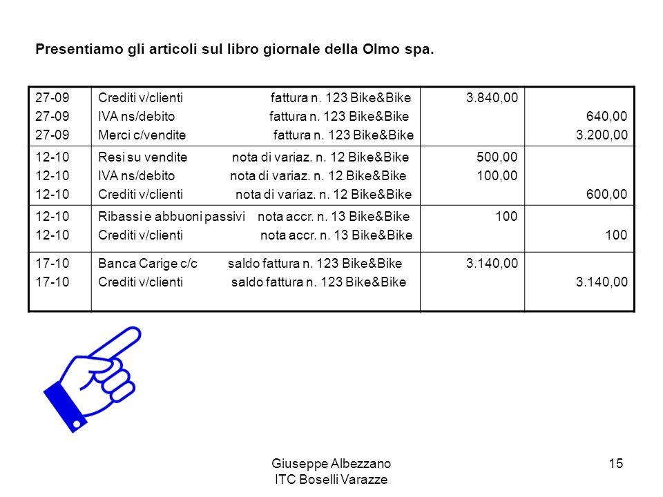 Giuseppe Albezzano ITC Boselli Varazze 15 Presentiamo gli articoli sul libro giornale della Olmo spa. 27-09 Crediti v/clienti fattura n. 123 Bike&Bike