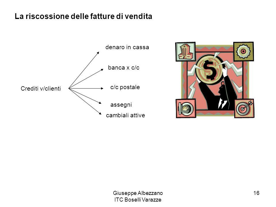 Giuseppe Albezzano ITC Boselli Varazze 16 La riscossione delle fatture di vendita Crediti v/clienti denaro in cassa banca x c/c c/c postale assegni ca
