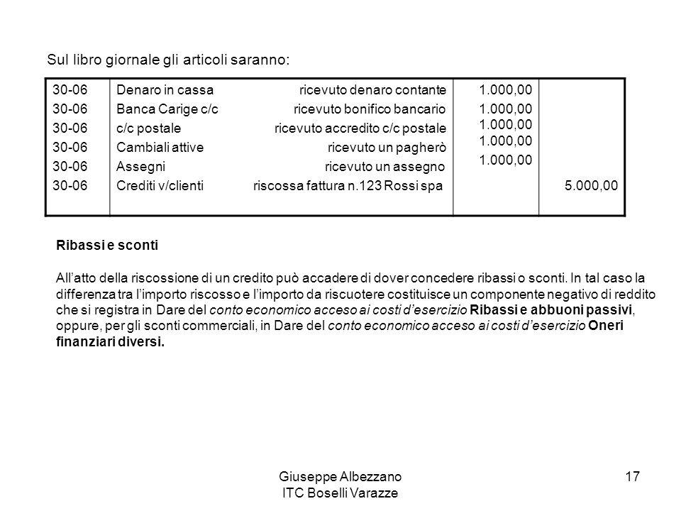 Giuseppe Albezzano ITC Boselli Varazze 17 Sul libro giornale gli articoli saranno: 30-06 Denaro in cassa ricevuto denaro contante Banca Carige c/c ric