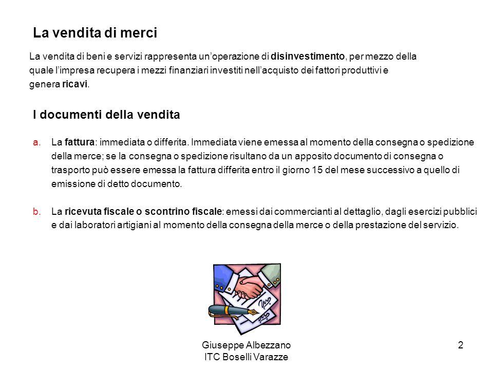 Giuseppe Albezzano ITC Boselli Varazze 2 La vendita di merci La vendita di beni e servizi rappresenta unoperazione di disinvestimento, per mezzo della