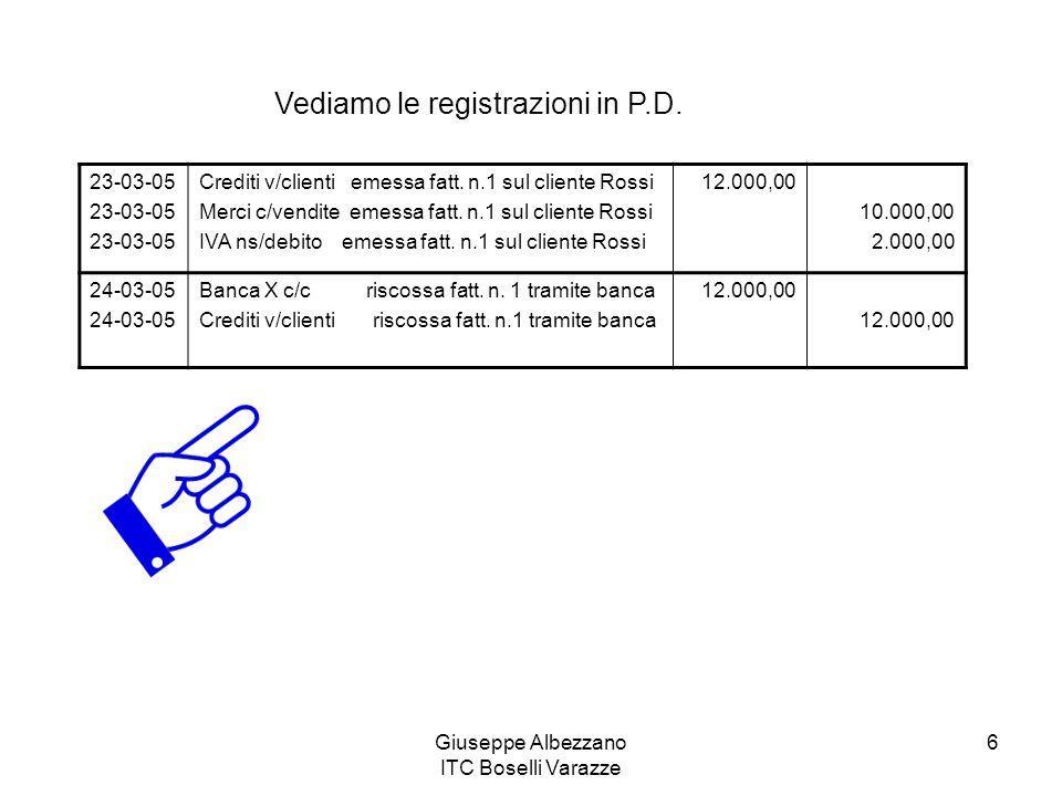 Giuseppe Albezzano ITC Boselli Varazze 6 Vediamo le registrazioni in P.D. 23-03-05 Crediti v/clienti emessa fatt. n.1 sul cliente Rossi Merci c/vendit