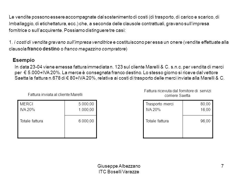 Giuseppe Albezzano ITC Boselli Varazze 7 Le vendite possono essere accompagnate dal sostenimento di costi (di trasporto, di carico e scarico, di Imbal