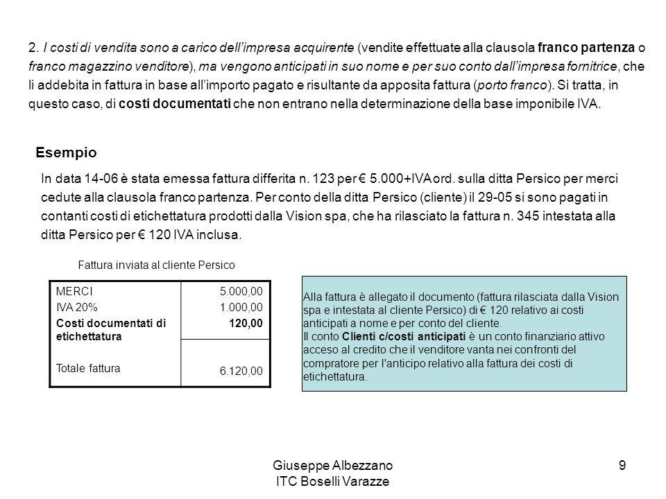Giuseppe Albezzano ITC Boselli Varazze 9 2. I costi di vendita sono a carico dellimpresa acquirente (vendite effettuate alla clausola franco partenza