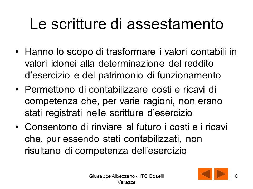 Giuseppe Albezzano - ITC Boselli Varazze 7 Classificazione delle scritture di assestamento Scritture di assestamento di completamentodi integrazione di rettifica di ammortamento