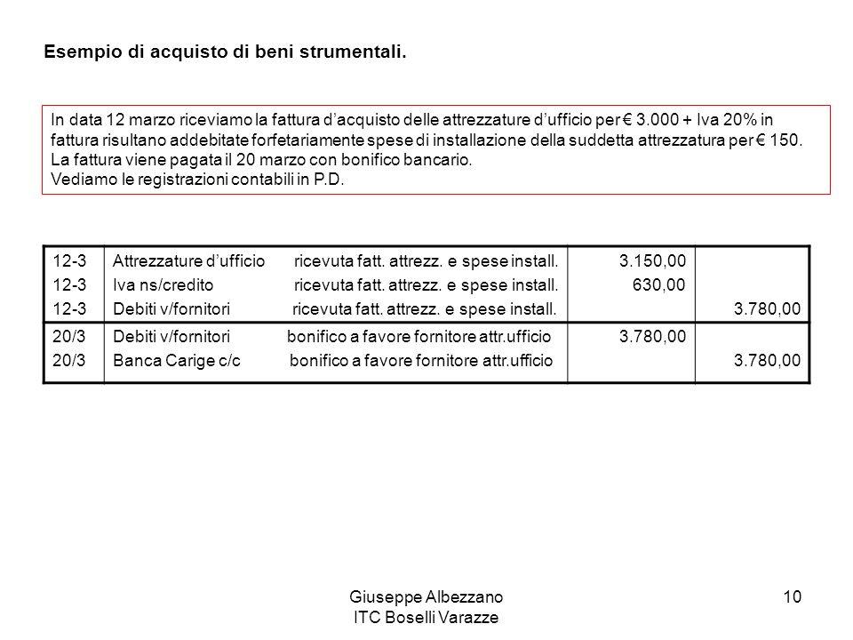 Giuseppe Albezzano ITC Boselli Varazze 10 Esempio di acquisto di beni strumentali. In data 12 marzo riceviamo la fattura dacquisto delle attrezzature