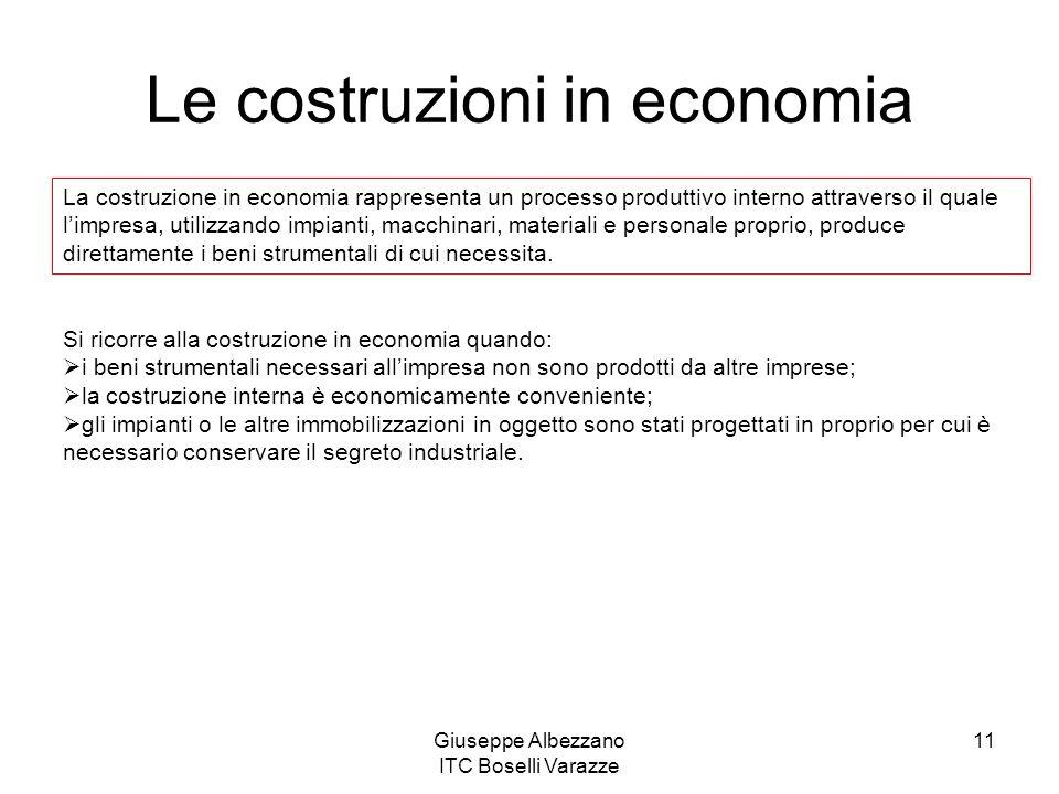 Giuseppe Albezzano ITC Boselli Varazze 11 Le costruzioni in economia La costruzione in economia rappresenta un processo produttivo interno attraverso