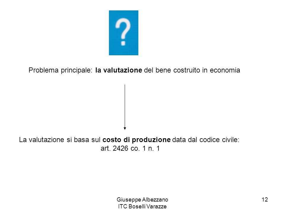 Giuseppe Albezzano ITC Boselli Varazze 12 Problema principale: la valutazione del bene costruito in economia La valutazione si basa sul costo di produ