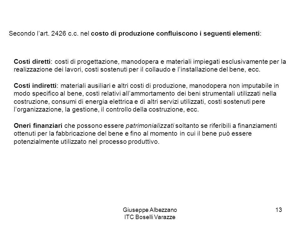 Giuseppe Albezzano ITC Boselli Varazze 13 Secondo lart. 2426 c.c. nel costo di produzione confluiscono i seguenti elementi: Costi diretti: costi di pr