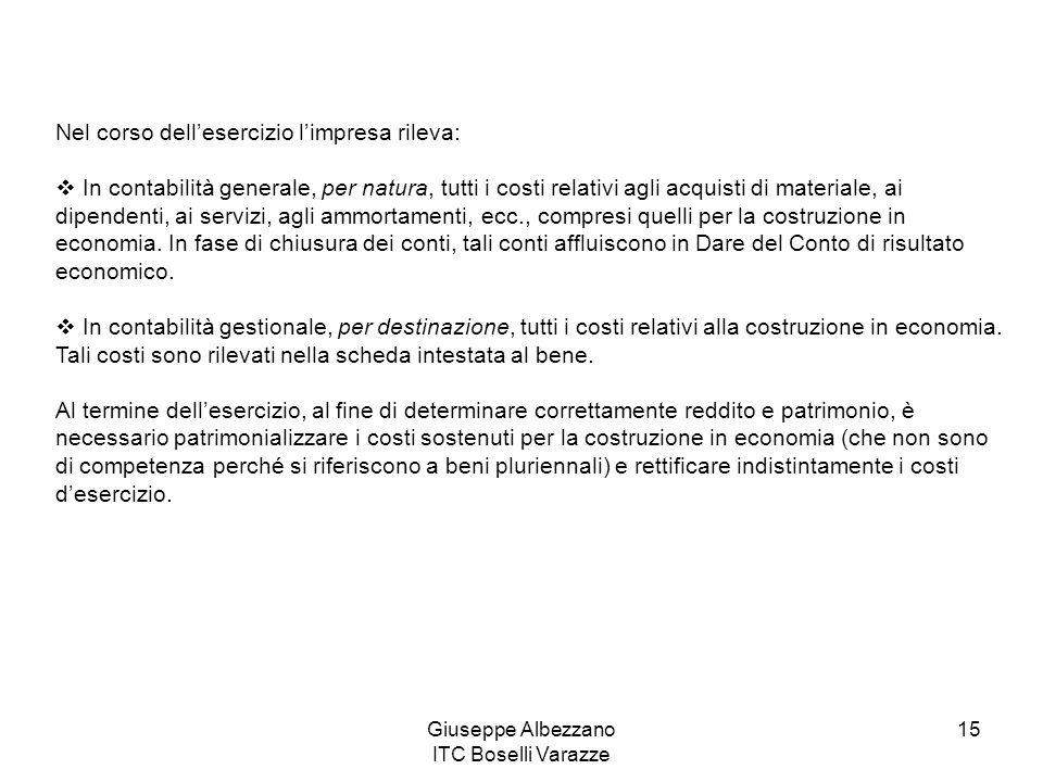 Giuseppe Albezzano ITC Boselli Varazze 15 Nel corso dellesercizio limpresa rileva: In contabilità generale, per natura, tutti i costi relativi agli ac