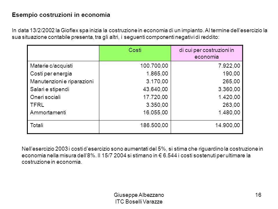 Giuseppe Albezzano ITC Boselli Varazze 16 Esempio costruzioni in economia In data 13/2/2002 la Gioflex spa inizia la costruzione in economia di un imp