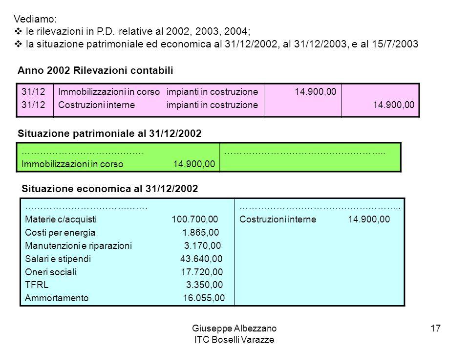 Giuseppe Albezzano ITC Boselli Varazze 17 Vediamo: le rilevazioni in P.D. relative al 2002, 2003, 2004; la situazione patrimoniale ed economica al 31/