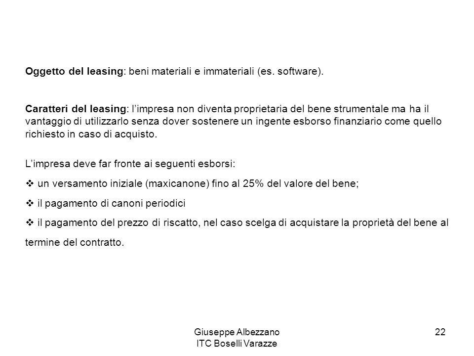 Giuseppe Albezzano ITC Boselli Varazze 22 Oggetto del leasing: beni materiali e immateriali (es. software). Caratteri del leasing: limpresa non divent