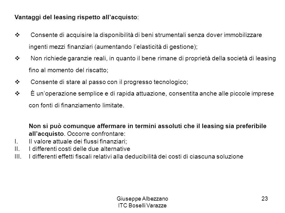 Giuseppe Albezzano ITC Boselli Varazze 23 Vantaggi del leasing rispetto allacquisto: Consente di acquisire la disponibilità di beni strumentali senza