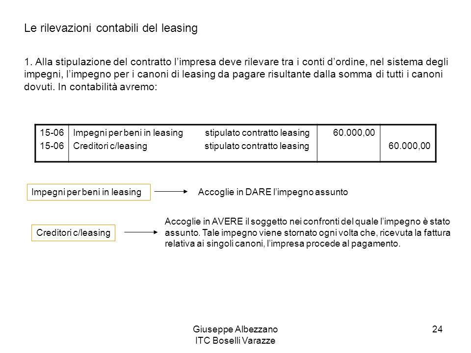 Giuseppe Albezzano ITC Boselli Varazze 24 Le rilevazioni contabili del leasing 1. Alla stipulazione del contratto limpresa deve rilevare tra i conti d