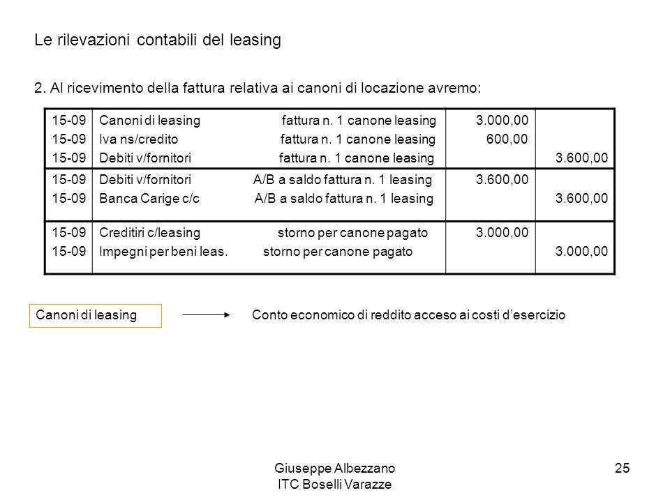 Giuseppe Albezzano ITC Boselli Varazze 25 Le rilevazioni contabili del leasing 2. Al ricevimento della fattura relativa ai canoni di locazione avremo: