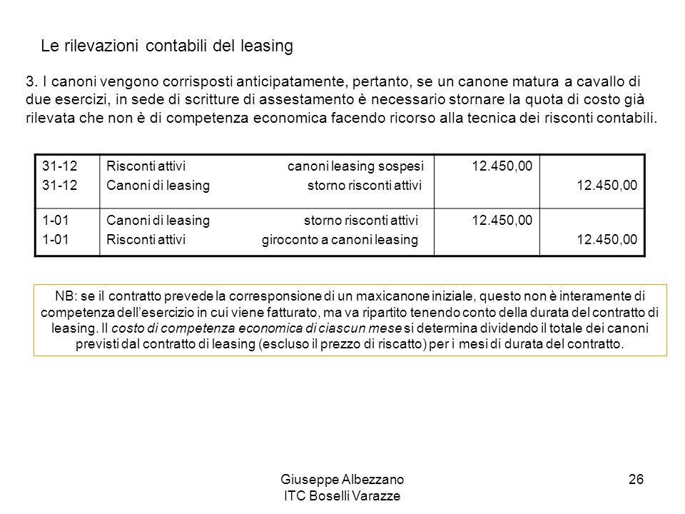 Giuseppe Albezzano ITC Boselli Varazze 26 Le rilevazioni contabili del leasing 3. I canoni vengono corrisposti anticipatamente, pertanto, se un canone