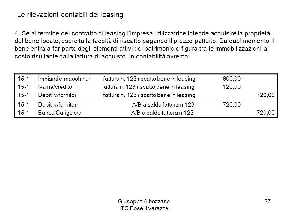 Giuseppe Albezzano ITC Boselli Varazze 27 Le rilevazioni contabili del leasing 4. Se al termine del contratto di leasing limpresa utilizzatrice intend