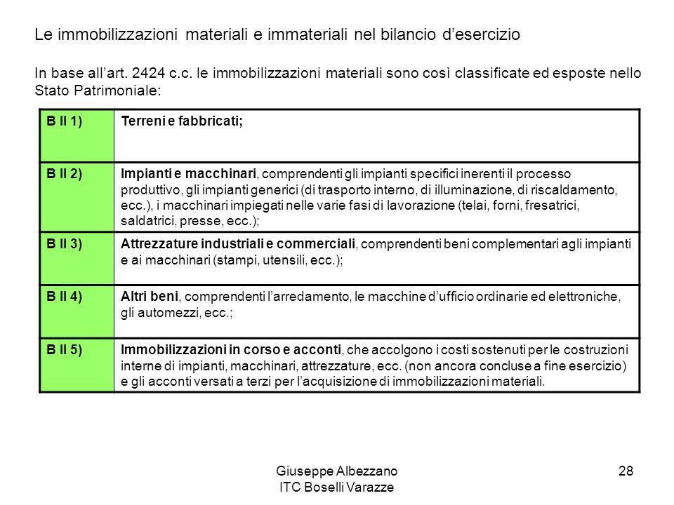Giuseppe Albezzano ITC Boselli Varazze 28 Le immobilizzazioni materiali e immateriali nel bilancio desercizio In base allart. 2424 c.c. le immobilizza