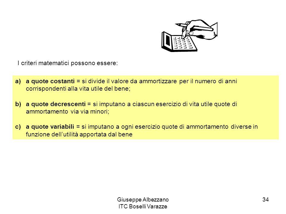 Giuseppe Albezzano ITC Boselli Varazze 34 I criteri matematici possono essere: a)a quote costanti = si divide il valore da ammortizzare per il numero