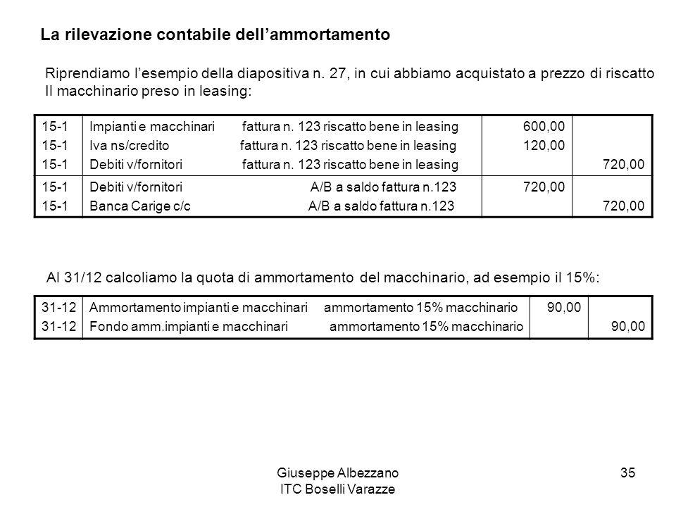 Giuseppe Albezzano ITC Boselli Varazze 35 La rilevazione contabile dellammortamento Riprendiamo lesempio della diapositiva n. 27, in cui abbiamo acqui