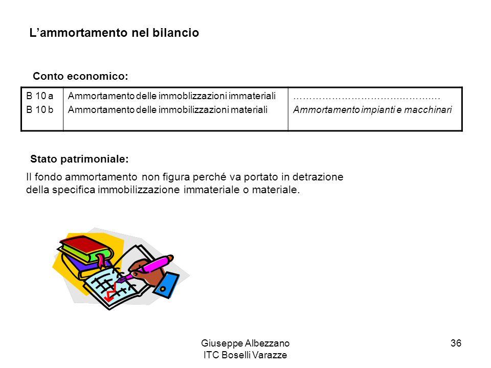 Giuseppe Albezzano ITC Boselli Varazze 36 Lammortamento nel bilancio B 10 a B 10 b Ammortamento delle immoblizzazioni immateriali Ammortamento delle i