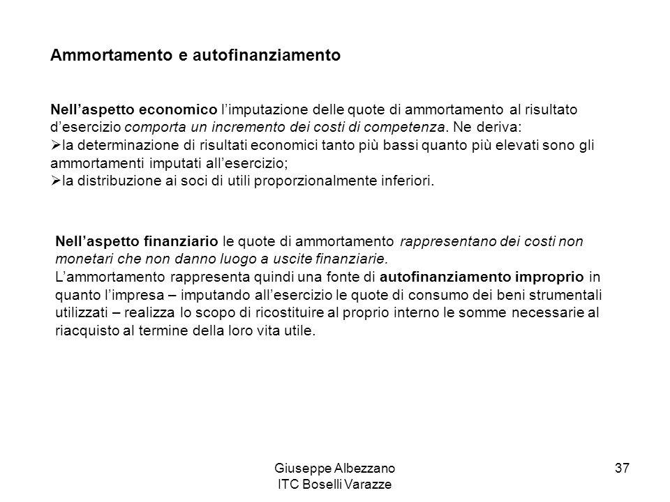Giuseppe Albezzano ITC Boselli Varazze 37 Ammortamento e autofinanziamento Nellaspetto economico limputazione delle quote di ammortamento al risultato