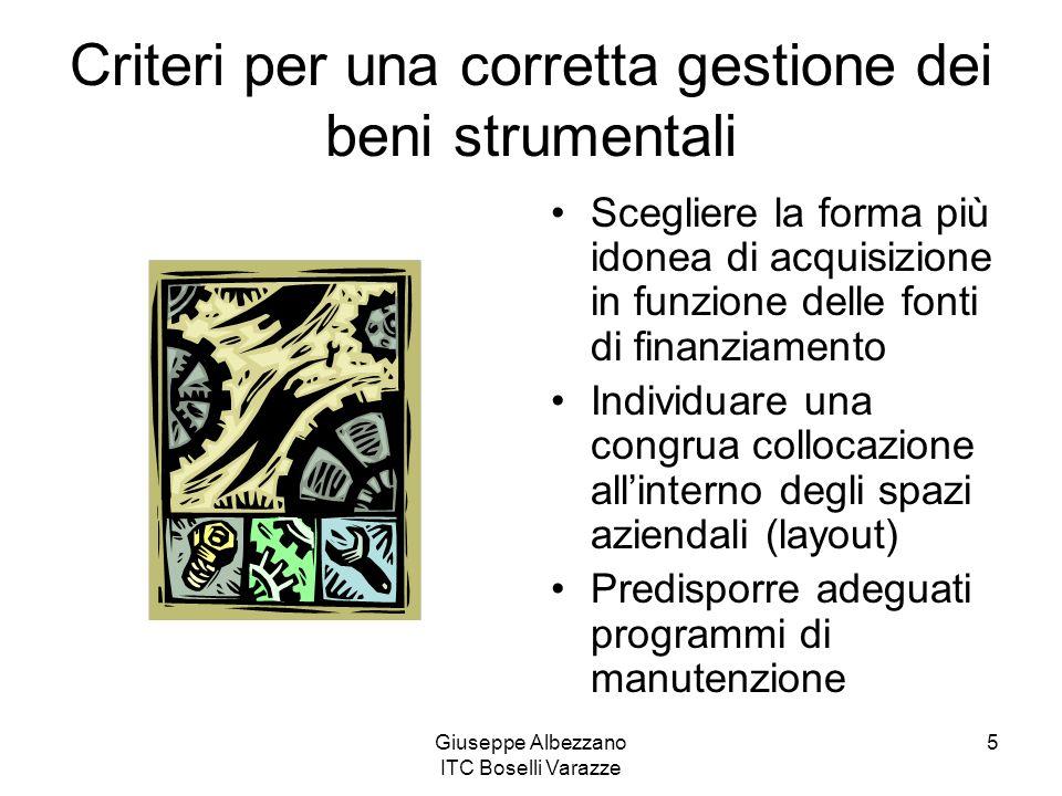 Giuseppe Albezzano ITC Boselli Varazze 5 Criteri per una corretta gestione dei beni strumentali Scegliere la forma più idonea di acquisizione in funzi
