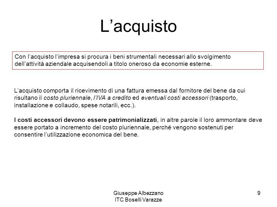 Giuseppe Albezzano ITC Boselli Varazze 9 Lacquisto Con lacquisto limpresa si procura i beni strumentali necessari allo svolgimento dellattività aziend