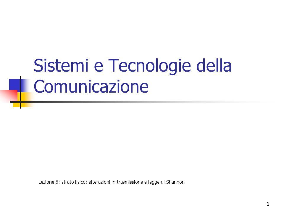 1 Sistemi e Tecnologie della Comunicazione Lezione 6: strato fisico: alterazioni in trasmissione e legge di Shannon