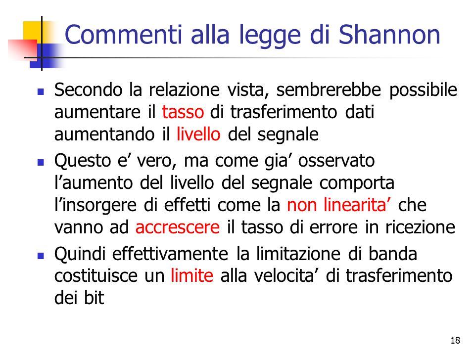 18 Commenti alla legge di Shannon Secondo la relazione vista, sembrerebbe possibile aumentare il tasso di trasferimento dati aumentando il livello del