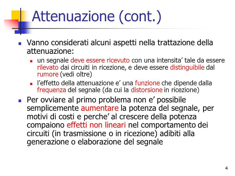4 Attenuazione (cont.) Vanno considerati alcuni aspetti nella trattazione della attenuazione: un segnale deve essere ricevuto con una intensita tale d