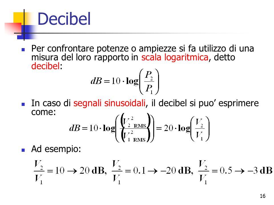 16 Decibel Per confrontare potenze o ampiezze si fa utilizzo di una misura del loro rapporto in scala logaritmica, detto decibel: In caso di segnali s