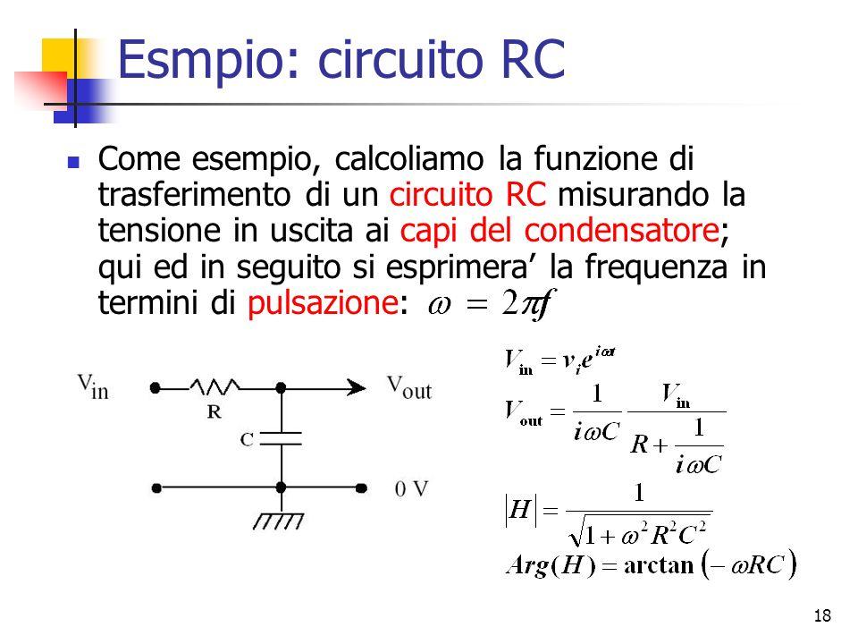 18 Esmpio: circuito RC Come esempio, calcoliamo la funzione di trasferimento di un circuito RC misurando la tensione in uscita ai capi del condensator