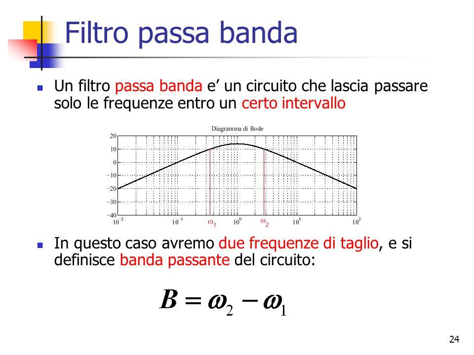 24 Filtro passa banda Un filtro passa banda e un circuito che lascia passare solo le frequenze entro un certo intervallo In questo caso avremo due fre
