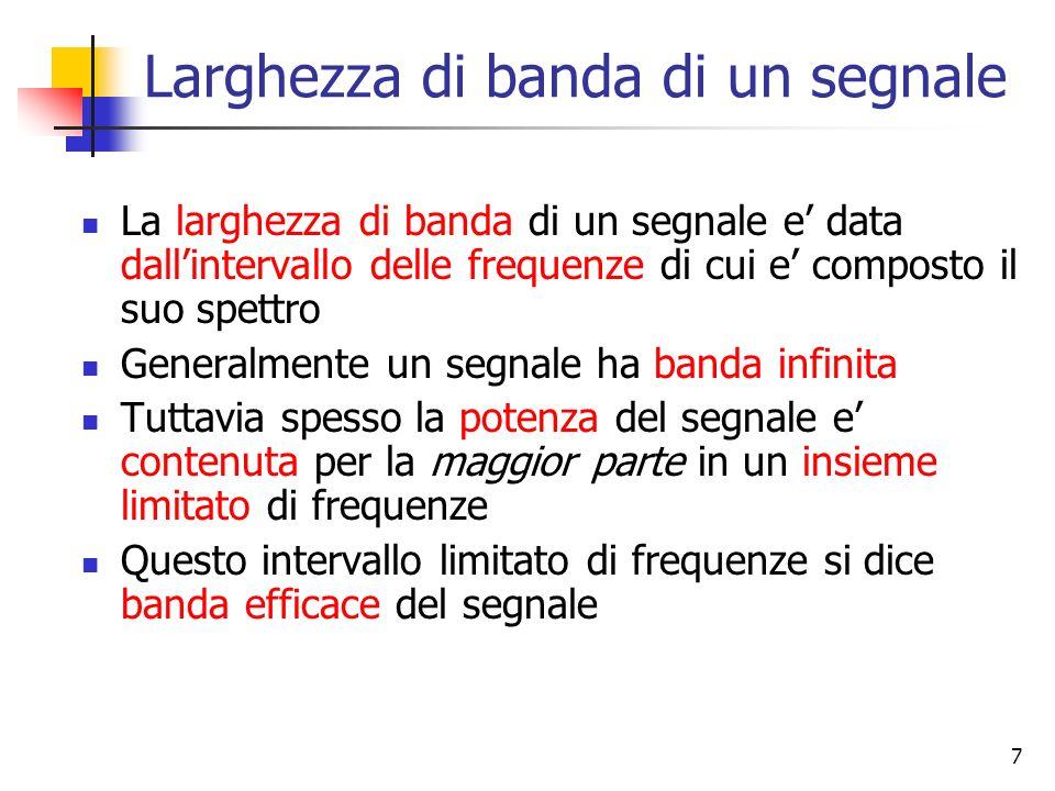 7 Larghezza di banda di un segnale La larghezza di banda di un segnale e data dallintervallo delle frequenze di cui e composto il suo spettro Generalm