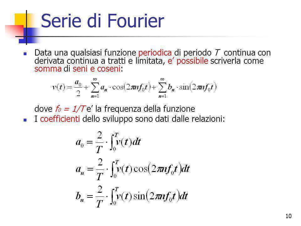 10 Serie di Fourier Data una qualsiasi funzione periodica di periodo T continua con derivata continua a tratti e limitata, e possibile scriverla come