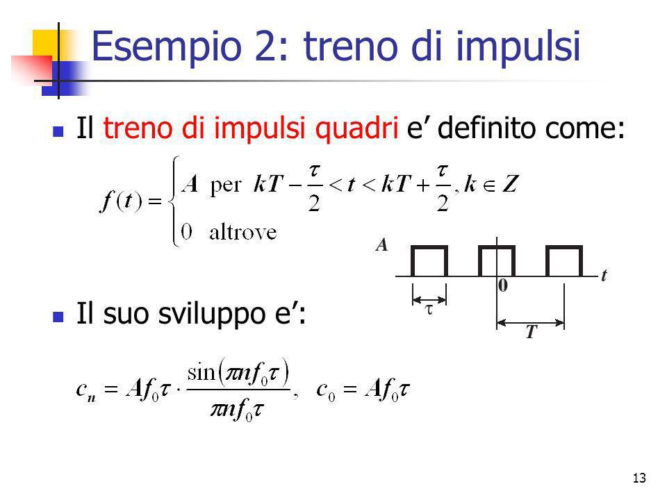 13 Esempio 2: treno di impulsi Il treno di impulsi quadri e definito come: Il suo sviluppo e: