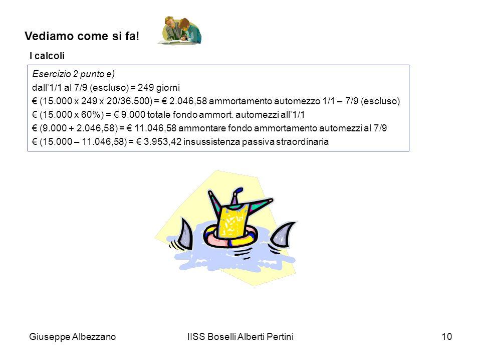 Giuseppe AlbezzanoIISS Boselli Alberti Pertini10 Vediamo come si fa! I calcoli Esercizio 2 punto e) dall1/1 al 7/9 (escluso) = 249 giorni (15.000 x 24