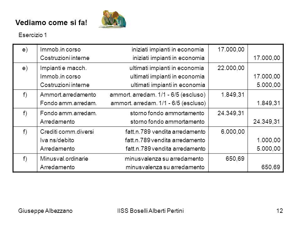 Giuseppe AlbezzanoIISS Boselli Alberti Pertini12 Vediamo come si fa! e)Immob.in corso iniziati impianti in economia Costruzioni interne iniziati impia