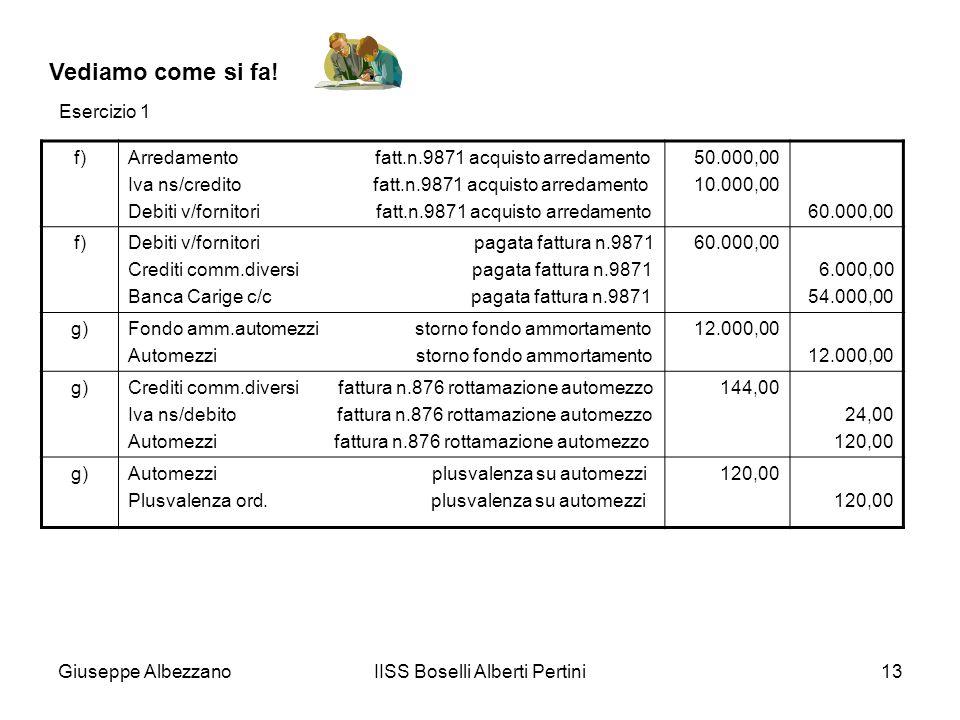 Giuseppe AlbezzanoIISS Boselli Alberti Pertini13 Vediamo come si fa! f)Arredamento fatt.n.9871 acquisto arredamento Iva ns/credito fatt.n.9871 acquist