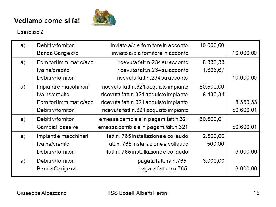 Giuseppe AlbezzanoIISS Boselli Alberti Pertini15 Vediamo come si fa! a)Debiti v/fornitori inviato a/b a fornitore in acconto Banca Carige c/c inviato
