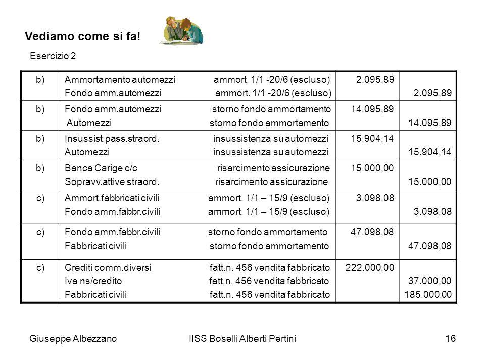 Giuseppe AlbezzanoIISS Boselli Alberti Pertini16 Vediamo come si fa! b)Ammortamento automezzi ammort. 1/1 -20/6 (escluso) Fondo amm.automezzi ammort.