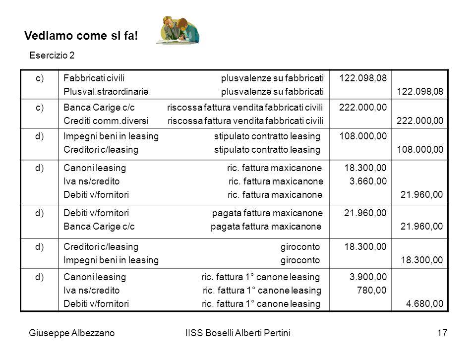 Giuseppe AlbezzanoIISS Boselli Alberti Pertini17 Vediamo come si fa! c)Fabbricati civili plusvalenze su fabbricati Plusval.straordinarie plusvalenze s