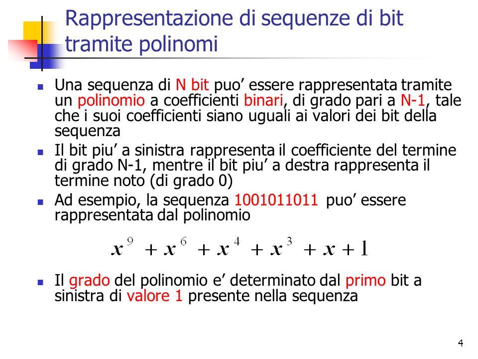 5 Aritmetica dei polinomi in modulo 2 Laritmetica dei polinomi a coefficienti binari si gestisce con le regole della aritmetica modulo 2: le somme e le sottrazioni non prevedono riporti; sono pertanto coincidenti ed equivalenti allOR esclusivo: le divisioni sono eseguite normalmente, tranne che le sottrazioni seguono la regola sopra detta; in questi termini, il divisore sta nel dividendo quando il dividendo ha lo stesso numero di bit del divisore, mentre non si puo dividere quando il dividendo ha meno bit del divisore
