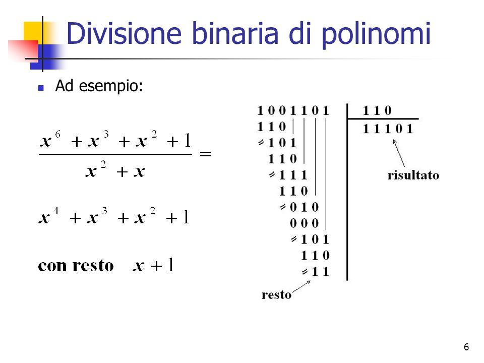 7 Codifica polinomiale (CRC) La tecnica consiste nel considerare i dati (m bit) da inviare come un polinomio di grado m-1 Trasmettitore e ricevitore si accordano sullutilizzo di un polinomio generatore G(x) di grado r Il trasmettitore aggiunge in coda al messaggio una sequenza di bit di controllo (CRC) in modo che il polinomio associato ai bit del frame trasmesso, costituito dallinsieme di dati e CRC, sia divisibile per G(x) In ricezione si divide il polinomio associato ai dati ricevuti per G(X) se la divisione ha resto nullo, si assume che la trasmissione sia avvenuta senza errori se la divisione ha resto non nullo, sono certamente avvenuti errori