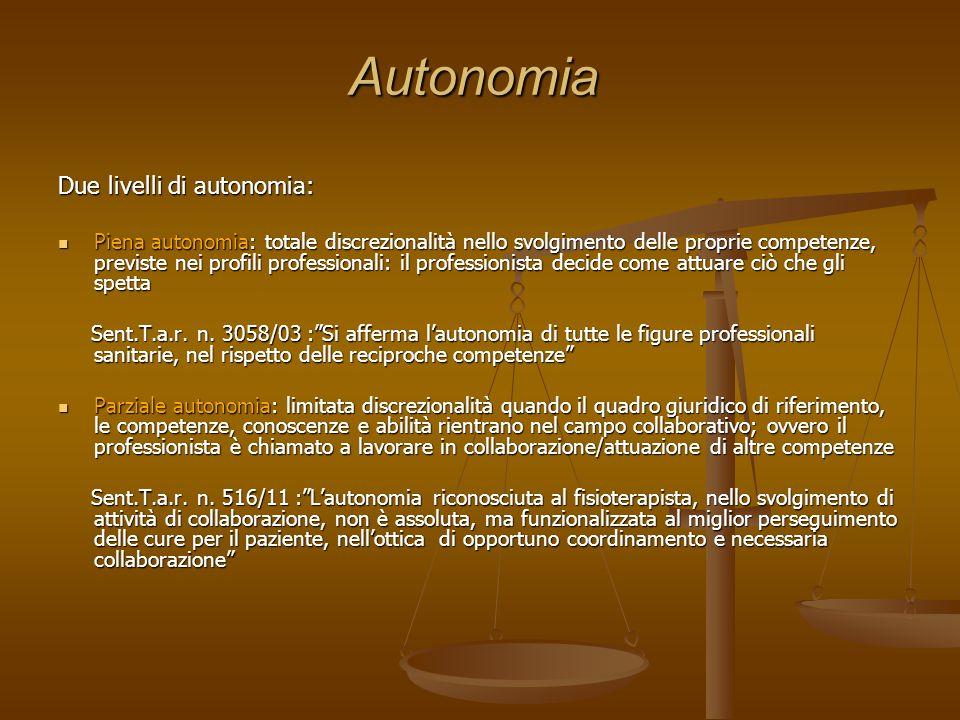 Autonomia Due livelli di autonomia: Piena autonomia: totale discrezionalità nello svolgimento delle proprie competenze, previste nei profili professio